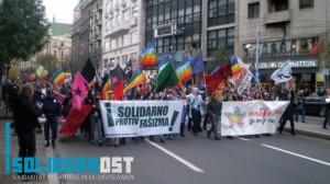 »Solidarisch gegen Faschismus« Antifademo Belgrad 2009